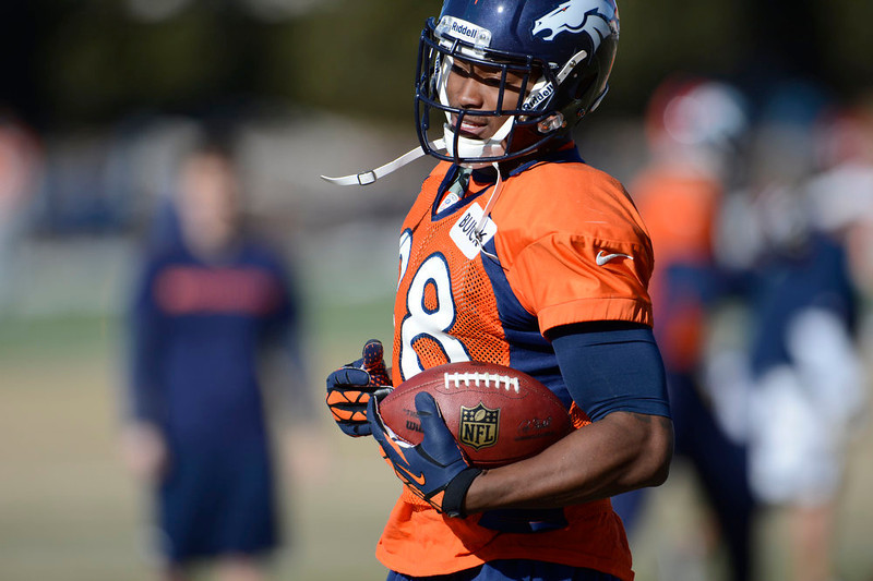 . Denver Broncos wide receiver Demaryius Thomas (88) catches a pass during  practice Wednesday, January 9, 2013 at Dove Valley.  John Leyba, The Denver Post