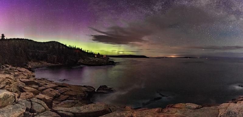 Acadia Northern Lights half pano