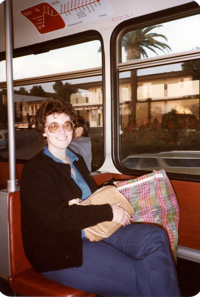 Judy on the Tijuana Trolley, coming back from a day of shopping