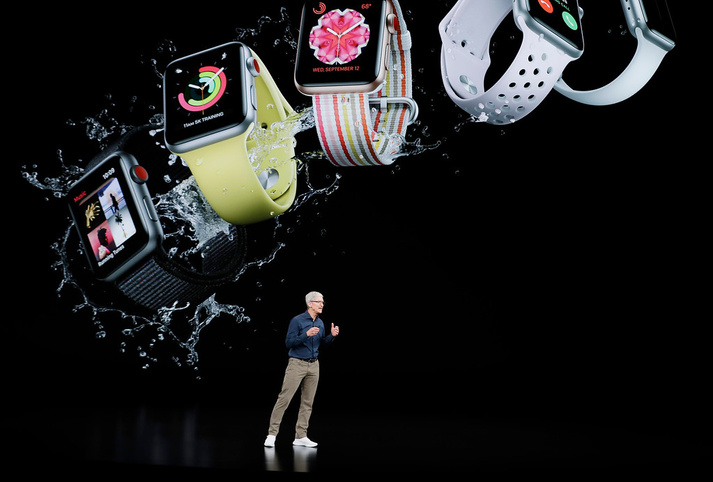 . Apple CEO Tim Cook speaks about the Apple Watch at the Steve Jobs Theater during an event to announce new Apple products Wednesday, Sept. 12, 2018, in Cupertino, Calif. (AP Photo/Marcio Jose Sanchez)