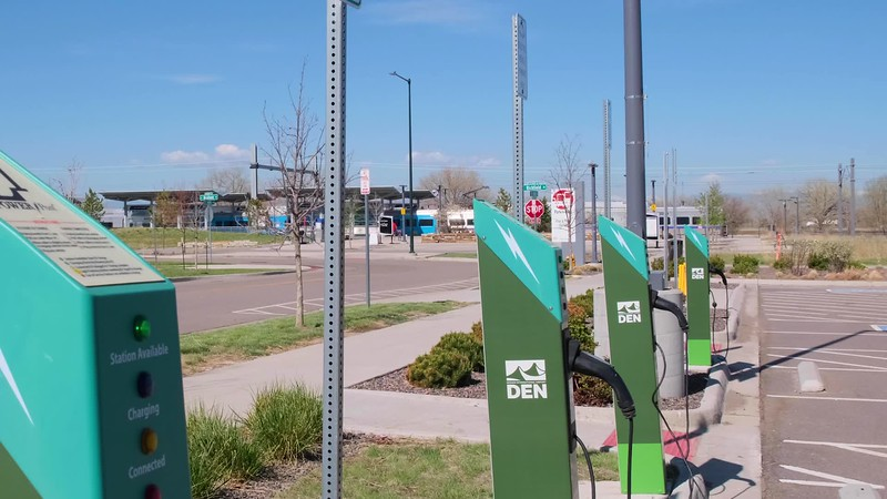 61st and Pena Solar Canopy / Electric Car b-roll