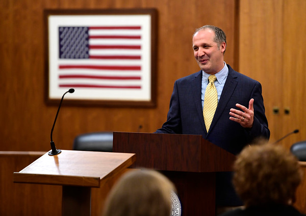 5/2/2019 Mike Orazzi | Staff The Rev. Todd Williams, of Bridge Community Church, during National Day of Prayer at Bristol City Hall on Thursday.