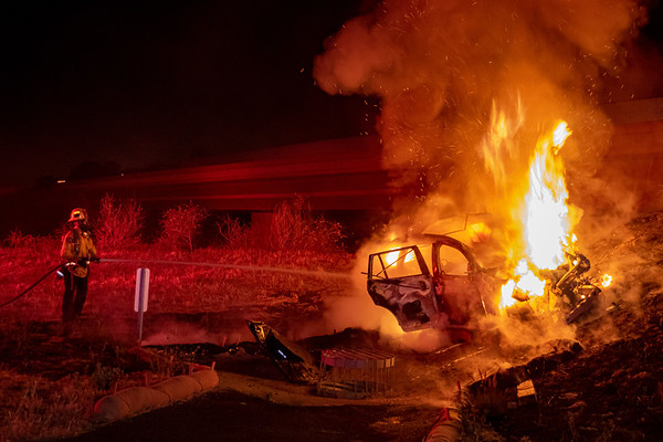 Irvine: Driver & Dog Escape Serious Injury After Fiery Crash Ignites Nearby Brush