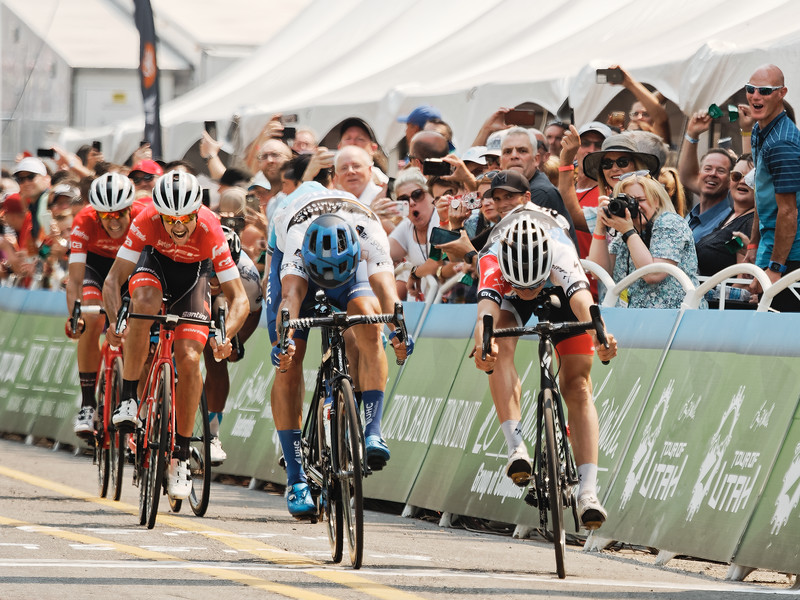Jasper Philipsen takes 1st, Larry H. Miller Tour of Utah Stage 4, Salt Lake City. (Photo: Davey Wilson)