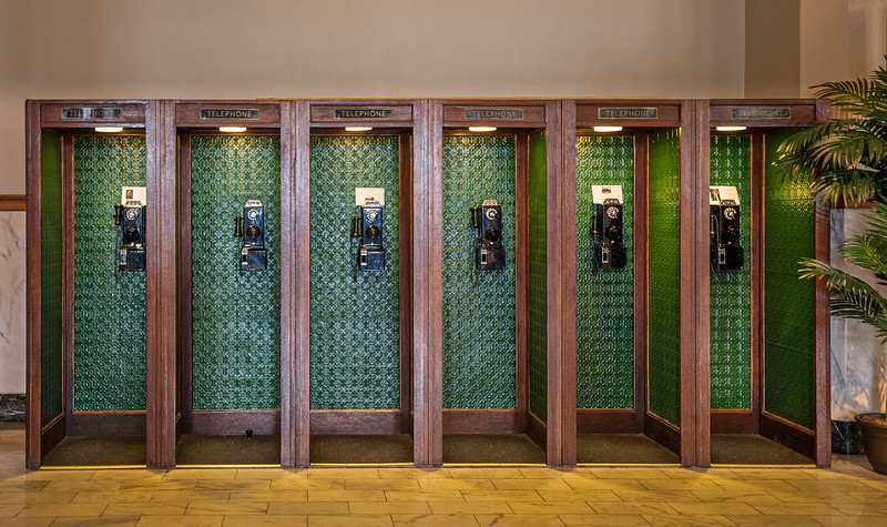 Telephone pay booths in Galveston Train Depot.