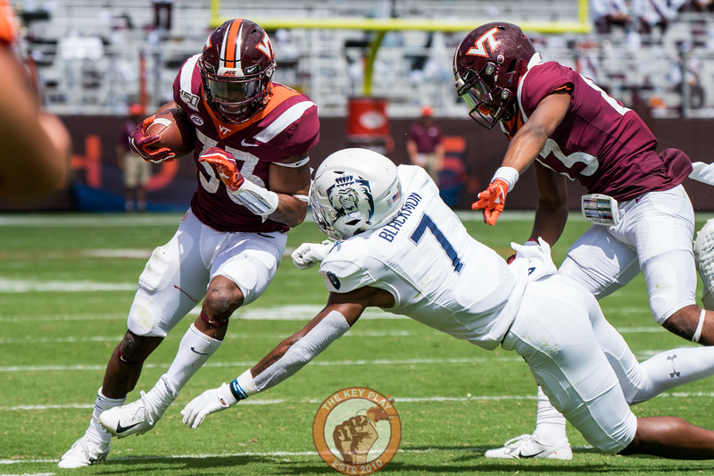 Deshawn McClease steps around a tackler during the matchup against Old Dominion University in Lane Stadium on Saturday, Sept. 7, 2019. (Photo: Cory Hancock)