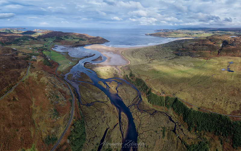 Torrisdale Bay and river Borgie Pano