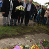 Miami Showband surviving members Des Lee, Ray Millar, Stephen Travers and the band's road manager Brian Maquire attend a wreath laying on the Buskhill Road, Co Down at the spot where the band where ambushed and serval members lost their lives 40 years ago.  C1532155.