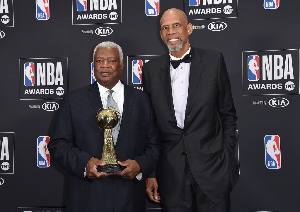". Oscar ""The Big O\"" Robertson, winner of the lifetime achievement award, left, and Kareem Abdul-Jabbar pose in the press room at the NBA Awards on Monday, June 25, 2018, at the Barker Hangar in Santa Monica, Calif. (Photo by Richard Shotwell/Invision/AP)"