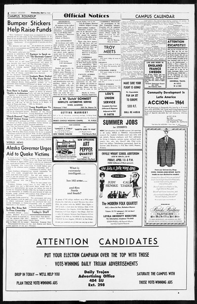 Daily Trojan, Vol. 55, No. 93, April 08, 1964