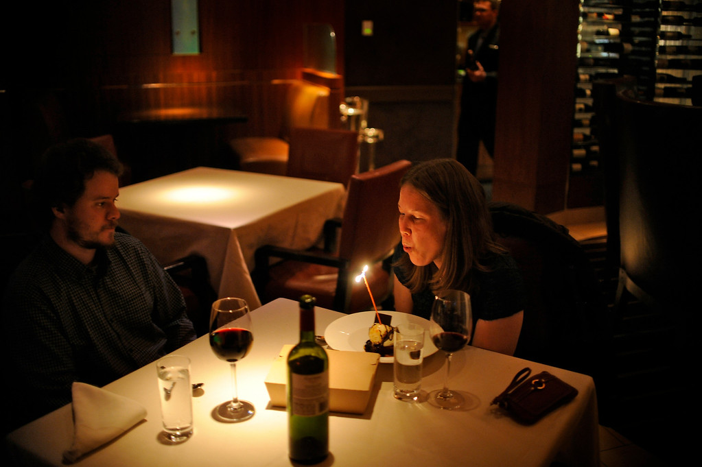 . Elway\'s downtown inside the Ritz Carlton located at 1881 Curtis St. in Denver on December 8, 2012. Lindsay Bergman celebrates her birthday with her husband Patrick Bergman.   Photo by Evan Semón, For The Denver Post