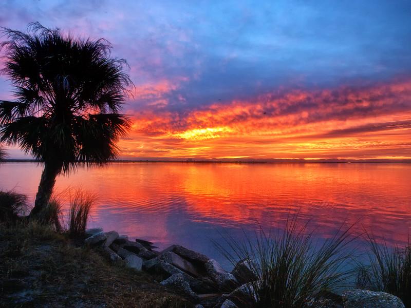 Sunrise overlooking Indian River in Titusville, FL