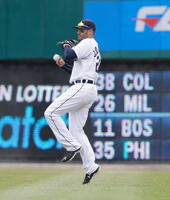 . Detroit Tigers right fielder J.D. Martinez throws back the flyout hit by Minnesota Twins\' Torii Hunter during the fifth inning of an opening day baseball game in Detroit, Monday, April 6, 2015. (AP Photo/Carlos Osorio)