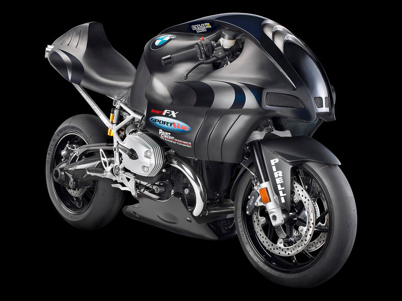 "The 2008 Canjamoto BMW R1200S Scorpion  - a 160 horsepower turbo version will be available in 2008. This ""soon to be in production"" concept motorcycle will be displayed for the first time in Ontario at the Ontario BMW motorrad Dealers Group display in Hall 3 at the SUPERSHOW 2008. Called the 'Scorpion', this BMW-based prototype has been designed and built by Richard Minott and his crew from Canjamoto. More info: