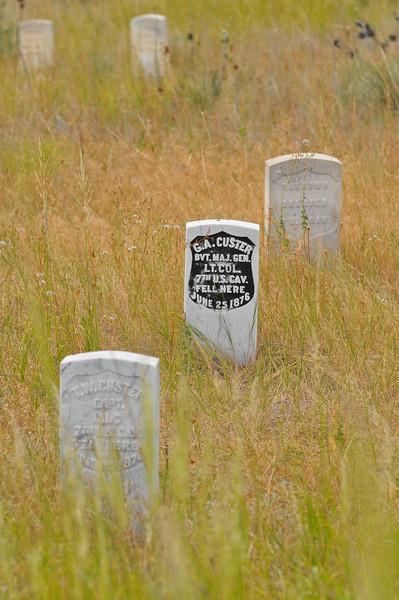 Custer's marker at Little Bighorn Battlefield National Monument