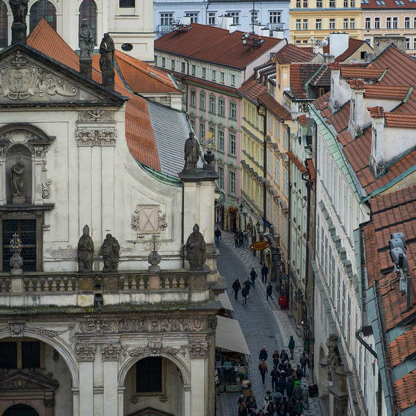 People walking on street seen from Old Town Bridge Tower, Prague, Czech Republic