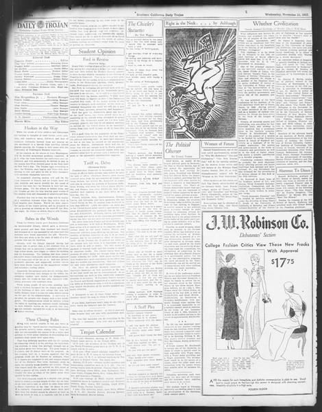 Daily Trojan, Vol. 24, No. 52, November 23, 1932