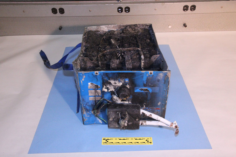 . This undated image provided by the National Transportation Safety Board shows the burned auxiliary power unit battery from a JAL Boeing 787 that caught fire on Jan. 7, 2013, at Boston\'s Logan International Airport.  Federal officials said on Wednesday, Jan. 16, 2013, that they are temporarily grounding Boeing\'s 787 Dreamliners until the risk of possible battery fires is addressed. (AP Photo/National Transportation Safety Board)