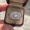 1.64ctw Vintage Princess Style Oval Cluster Ring 4
