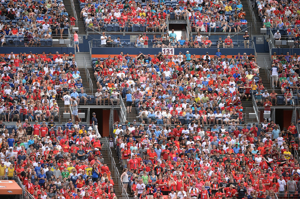 . Manchester United fans outnumbered the Italian supporters by a wide margin. Manchester United defeated AS Roma 3-2 in an exhibition soccer game at Sports Authority Field in Denver Saturday afternoon, July 27, 2014. Photo by Karl Gehring/The Denver Post
