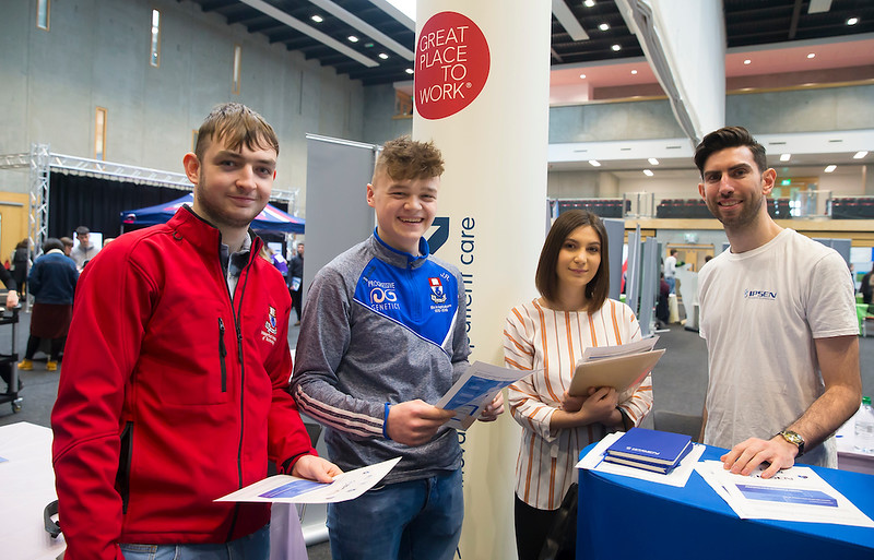 09/03/2019. Pictured at the Waterford Institute of Technology Science Careers Day.  Pictured are Michael Doyle Enniscorthy and Joel Rothwell Enniscorthy with Ian Fox IPSEN. Picture: Patrick Browne