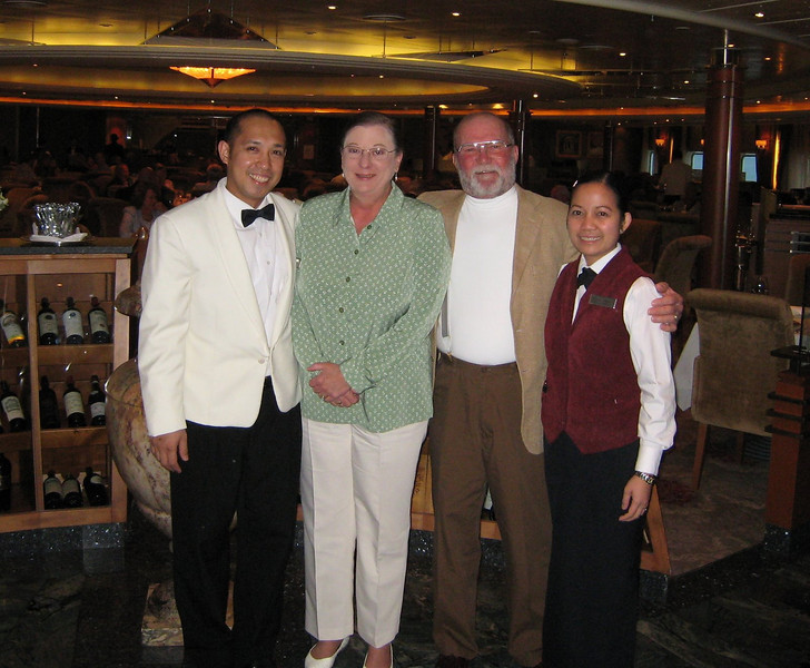The absolute best waitpersons ever - Eric, our waiter in the Compass Rose, and his wife, Arlene, who served us wine in the Compass Rose and then after dinner drinks in the observation lounge - they are very special people!