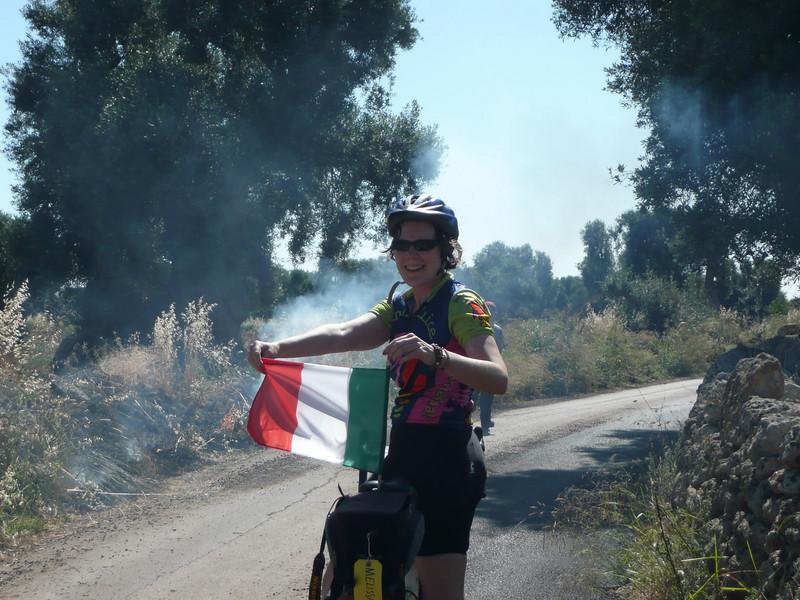 Melissa showing her Italian spirit