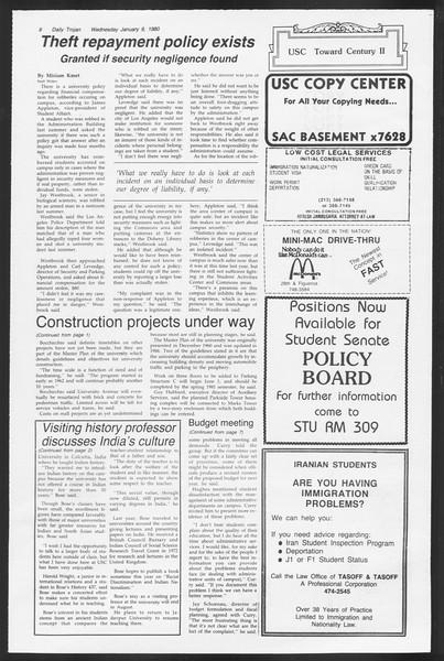Daily Trojan, Vol. 87, No. 64, January 09, 1980