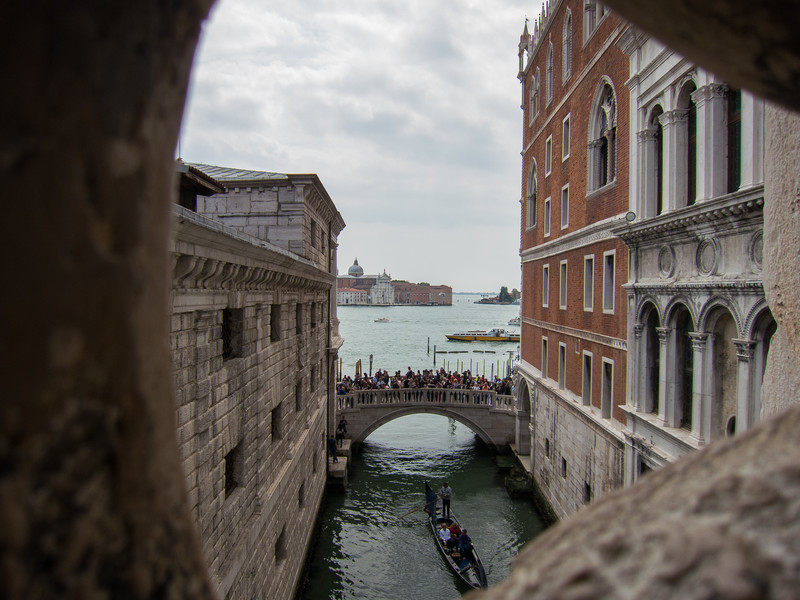 A view looking out from the bridge of sighs.