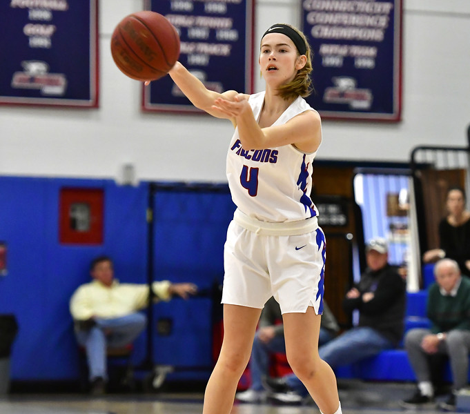 12/14/2018 Mike Orazzi | Staff St. Paul's Olivia Heslin (4) during Friday night's girls basketball game with Derby in Bristol.
