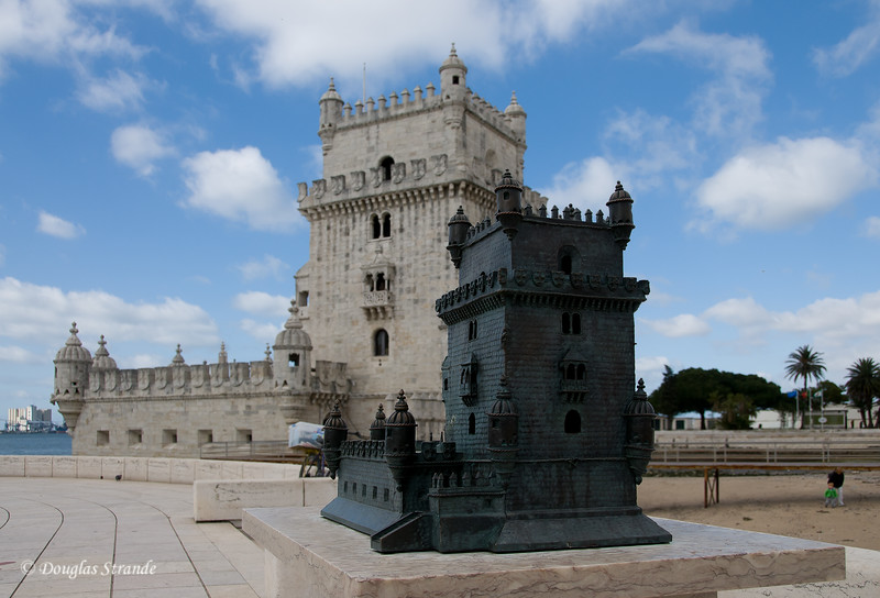 Thur 3/17 in Lisbon: A scale model of Belem Tower, with the real one behind