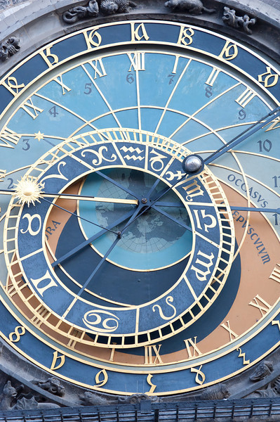 Isolated shot of the Astronomical Clock in Prague, Czech Republic