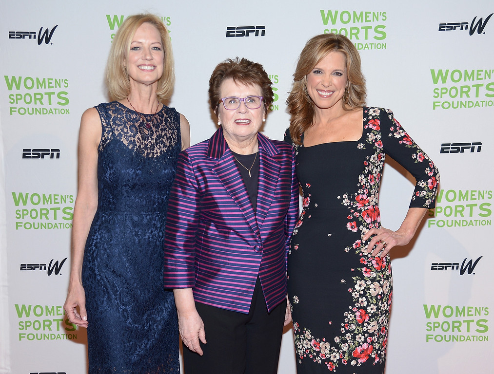 . NEW YORK, NY - OCTOBER 16:  (L-R) Women\'s Sports Foundation CEO Kathryn Olson, Womens Sports Foundation Founder Billie Jean King and ESPN sports journalist Hannah Storm attend the 34th annual Salute to Women In Sports Awards at Cipriani, Wall Street on October 16, 2013 in New York City.  (Photo by Michael Loccisano/Getty Images for the Women\'s Sports Foundation)