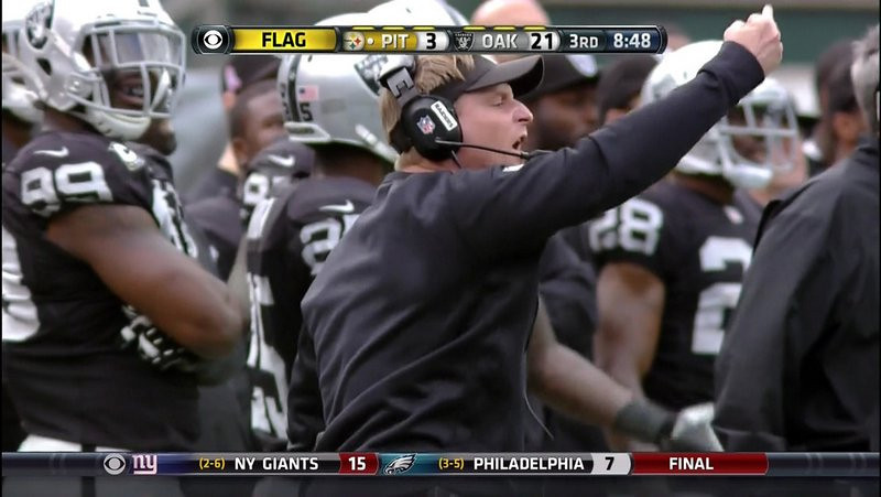 . <p><b> Eagles at Raiders (-2½):</b> <p>Oakland defensive coordinator Jason Tarver apologized after getting caught giving the middle finger to officials during Sunday�s game. Not apologizing: the thousands of wasted Raiders fans making the same gesture in the stands. <p>Pick: <b>Raiders by 3</b> <p>   (Photo from YouTube)