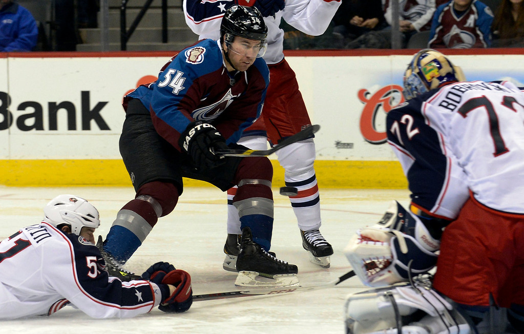 . DENVER, CO. - JANUARY 24: Colorado Avalanche right wing David Jones (54) takes a shot on Columbus Blue Jackets goalie Sergei Bobrovsky (72) during the third period January 24, 2013 at Pepsi Center. Bobrovsky made the save as  the Colorado Avalanche defeated the Columbus Blue Jackets 4-0. (Photo By John Leyba / The Denver Post)