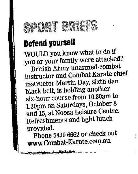 Sport Briefs - Defend Yourself - September 2011 Tel: 07 5448 3543