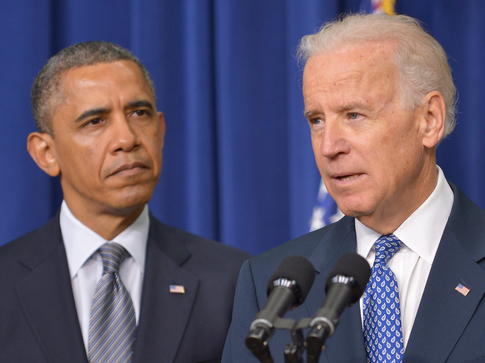 . US Vice President Joe Biden speaks on proposals to reduce gun violence as President Barack Obama looks on on January 16, 2013 in the South Court Auditorium of the Eisenhower Executive Office Building, next to the White House in Washington, DC. Obama is expected to sign 23 executive actions to curb gun violence. AFP PHOTO/Mandel NGAN/AFP/Getty Images
