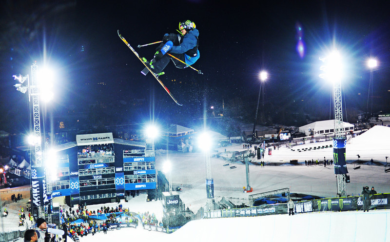 . David Wise catches big air during the Men\'s Ski Super Pipe Elimination at the Winter X Games in Aspen, January, 22 2014. The finals for the  Men\'s Ski Super Pipe will be held Friday night at Buttermilk Mountain. (Photo by RJ Sangosti/The Denver Post)