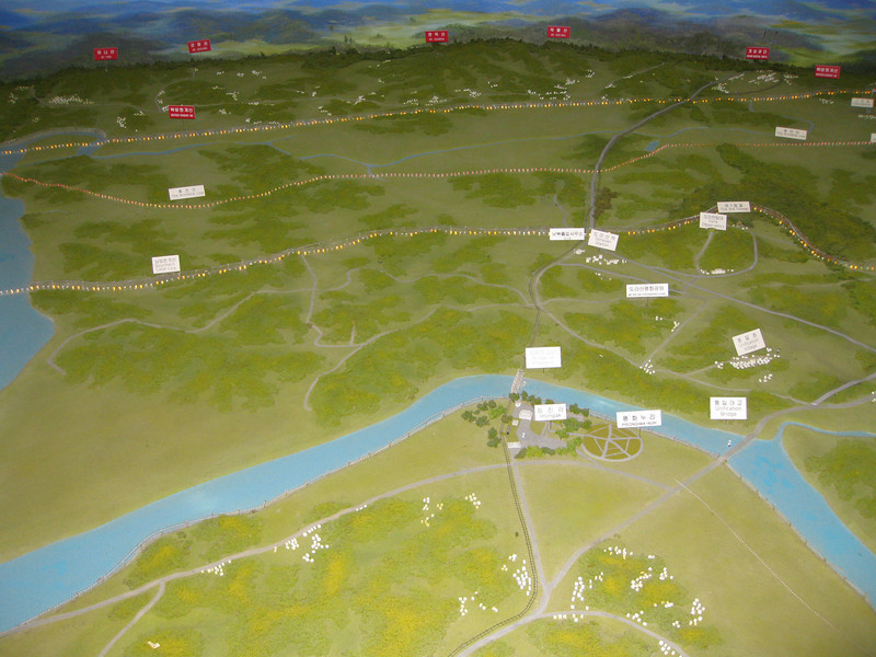 Model of the DMZ (demilitarized zone) between N and S Korea