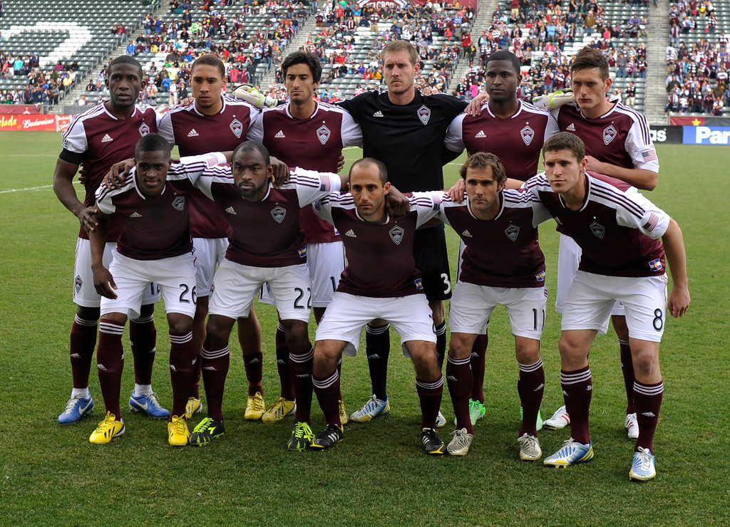 . Colorado defender Shane O\'Neill (back row, far right) got his first start of his career. The Colorado Rapids tied the Portland Timbers 2-2 Saturday, March 30, 2013 at Dick\'s Sporting Goods Park in Commerce City.  Photo By Karl Gehring/The Denver Post)