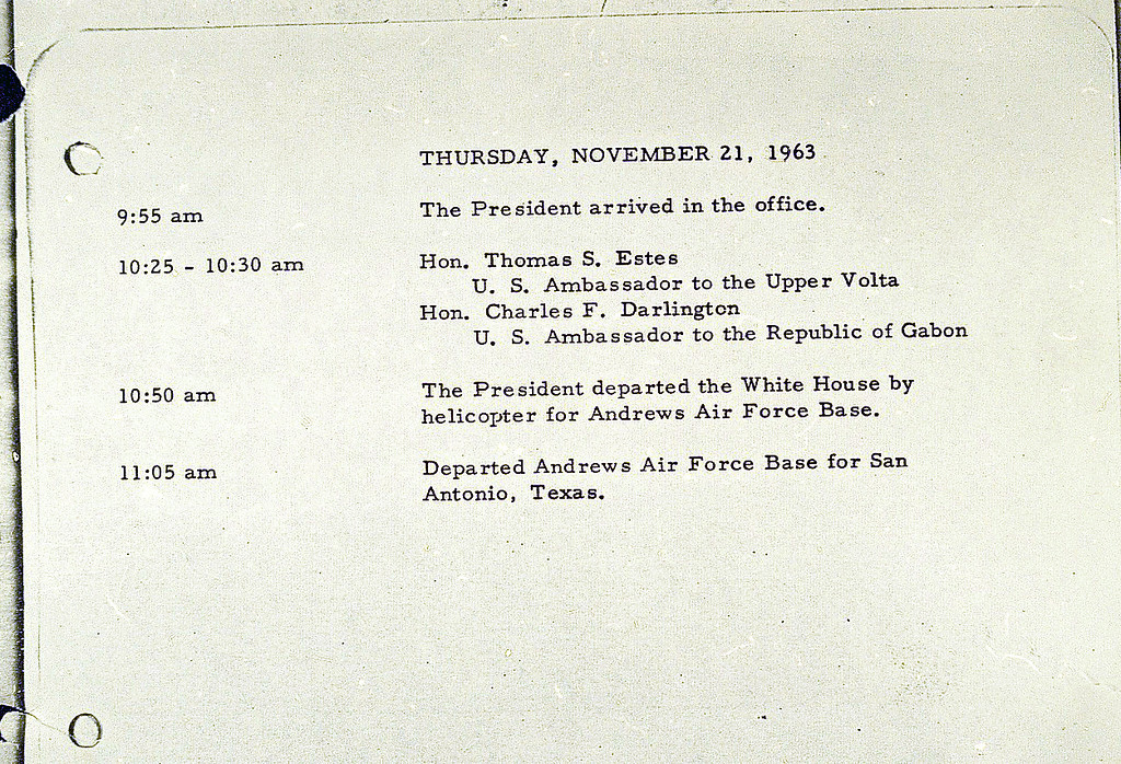 . This photo shows Kennedy\'s last entry into the White House appointment book on the morning of Nov. 21, 1963. The Kennedys flew to San Antonio the day before the assassination. Associated Press file