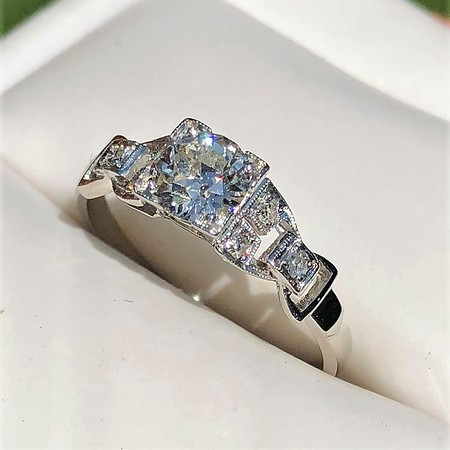 .64ctw Art Deco Old European Cut Diamond Buckle Motif Ring