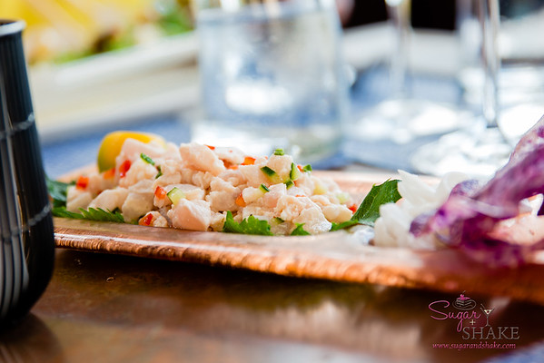 'Ōpakapaka Ceviche with young coconut, calamansi and smoked chiles. Celebration of the Arts media dinner at The Banyan Tree at The Ritz-Carlton Kapalua. © 2015 Sugar + Shake