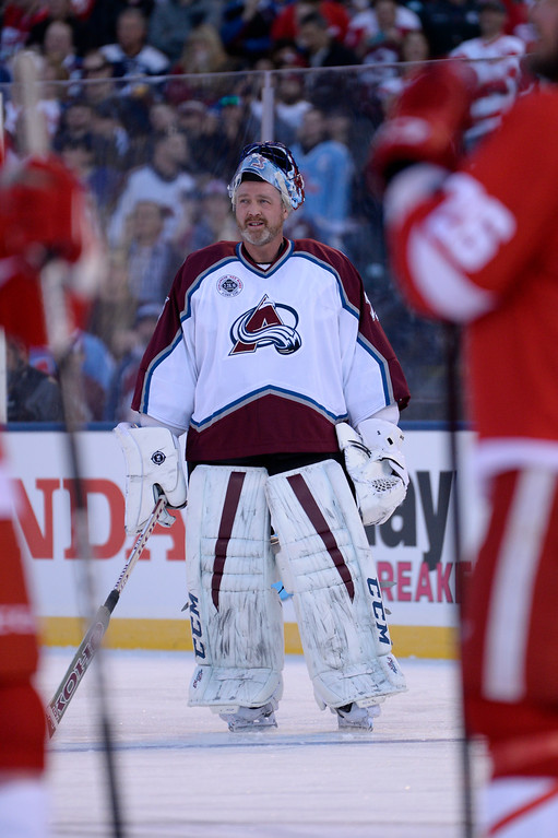 . DENVER, CO - FEBRUARY 26:  Colorado Avalanche Patrick Roy (33) looks up at the scoreboard during introductions prior to their alumni game against the Detroit Red Wings February 26, 2016 at Coors Field. (Photo By John Leyba/The Denver Post)