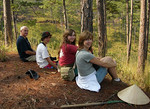 Enjoying a moment of relaxation during a hike in Dalat