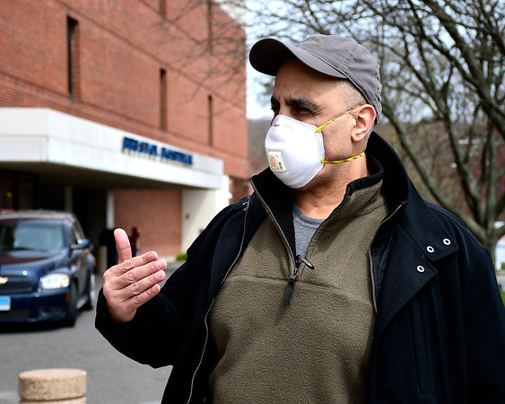 4/17/2020 Mike Orazzi | Staff Grace Farms Chief Accountability Officer and Justice Initiative Director Rod Khattabi talks about a donation of personal protective the foundation made to Bristol Hospital on Friday.