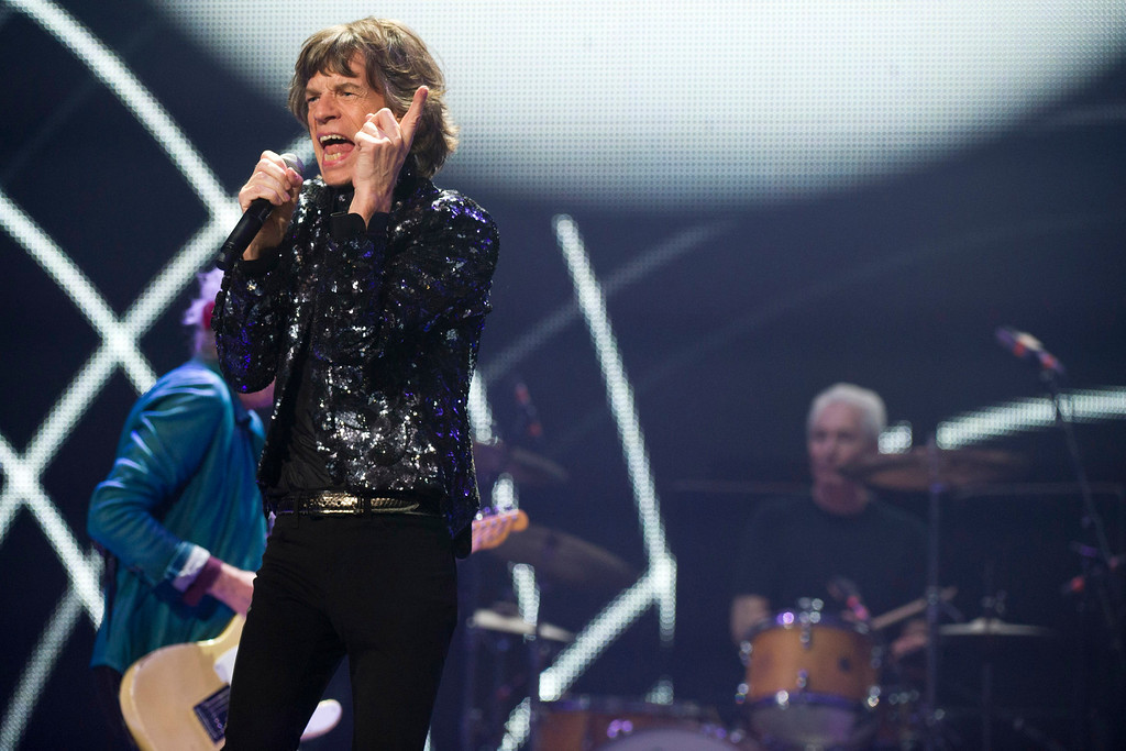. Mick Jagger of The Rolling Stones performs in concert on Saturday, Dec. 8, 2012 in New York. (Photo by Charles Sykes/Invision/AP)