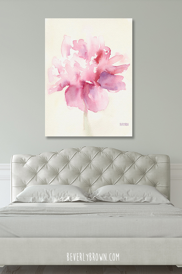 Neutral Feminine Bedroom with Pink Peony Canvas Artwork Over Bed