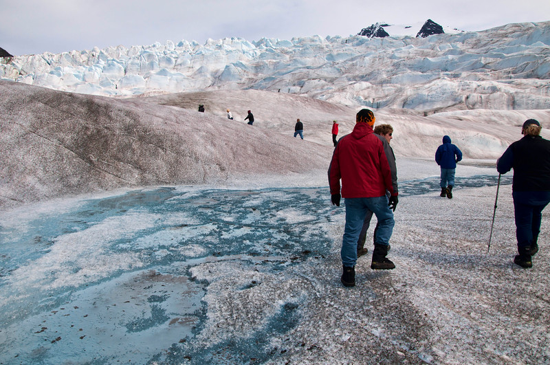 Hiking up the glacier to the lake on top.