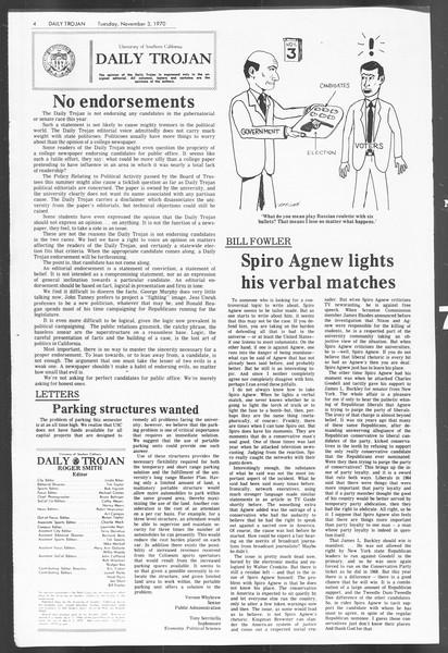 Daily Trojan, Vol. 62, No. 30, November 03, 1970